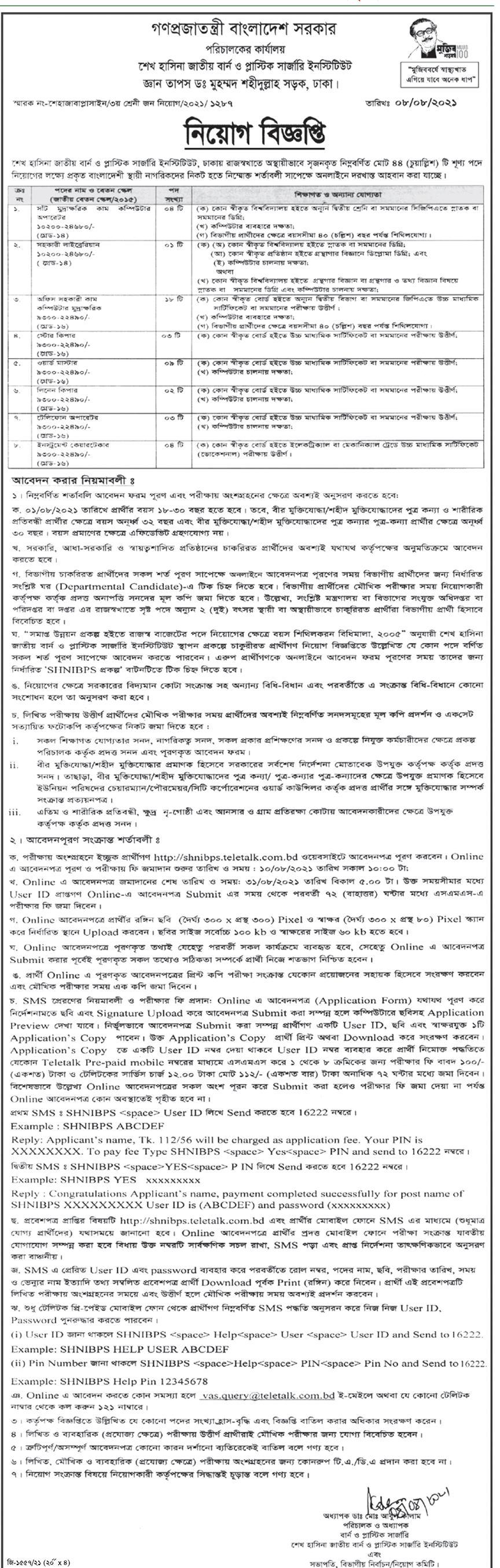 SHNIBPS Job Circular 2021 - shnibps.gov.bd