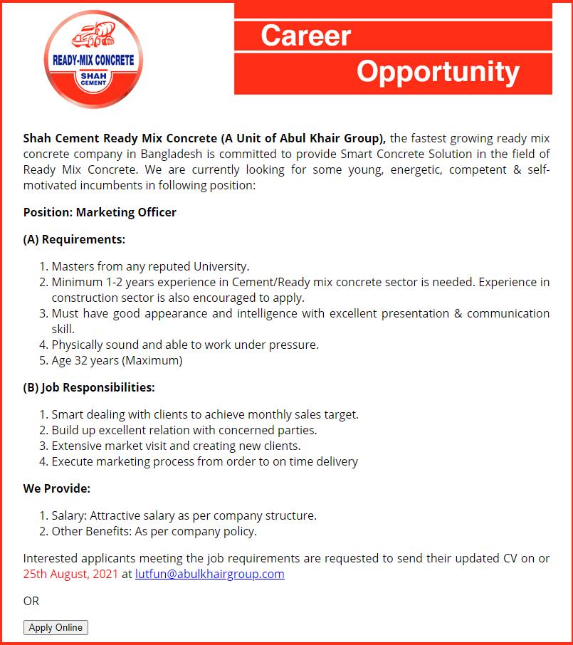 Shah Cement Ready Mix Concrete Job Circular 2021