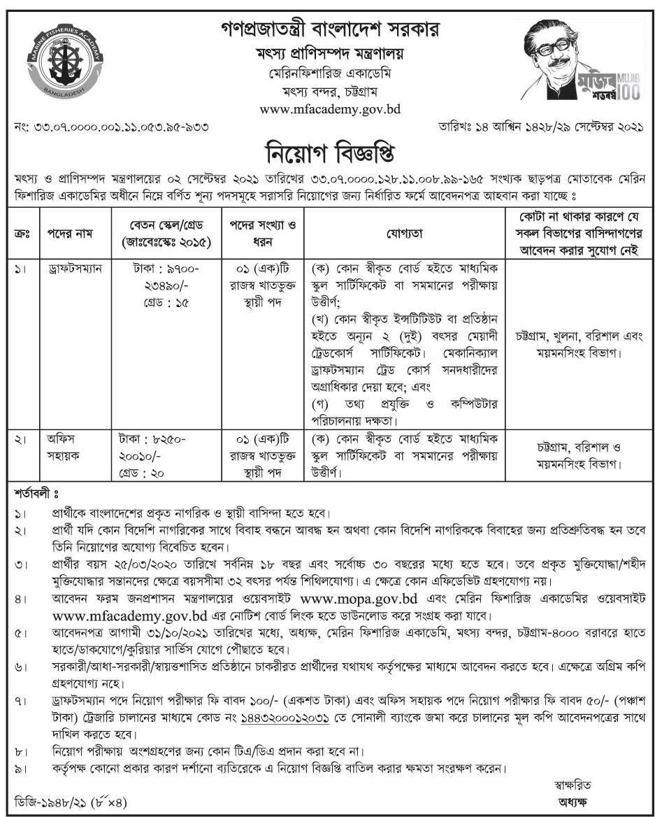 Mofl Job Circular 2021 - mofl.gov.bd