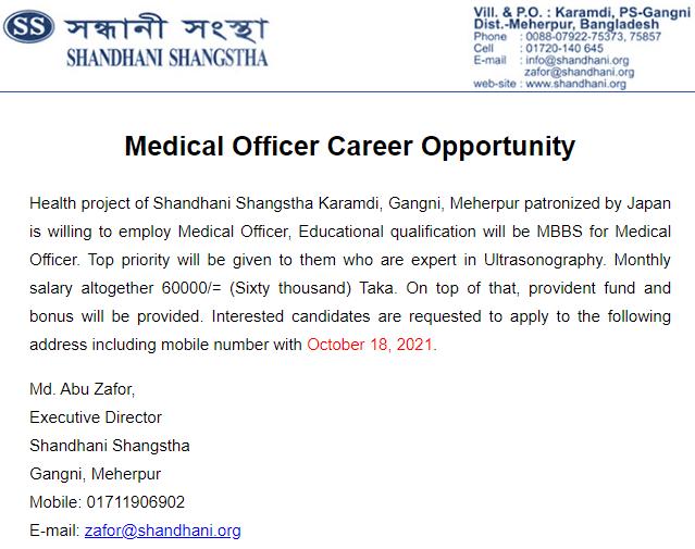 Shandhani Shangstha Job Circular 2021 PDF