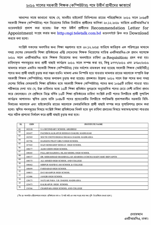 NTRCA  Assistant Teacher recommended candidates list