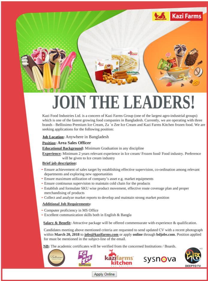 Kazi Food Industries Ltd Job Circular