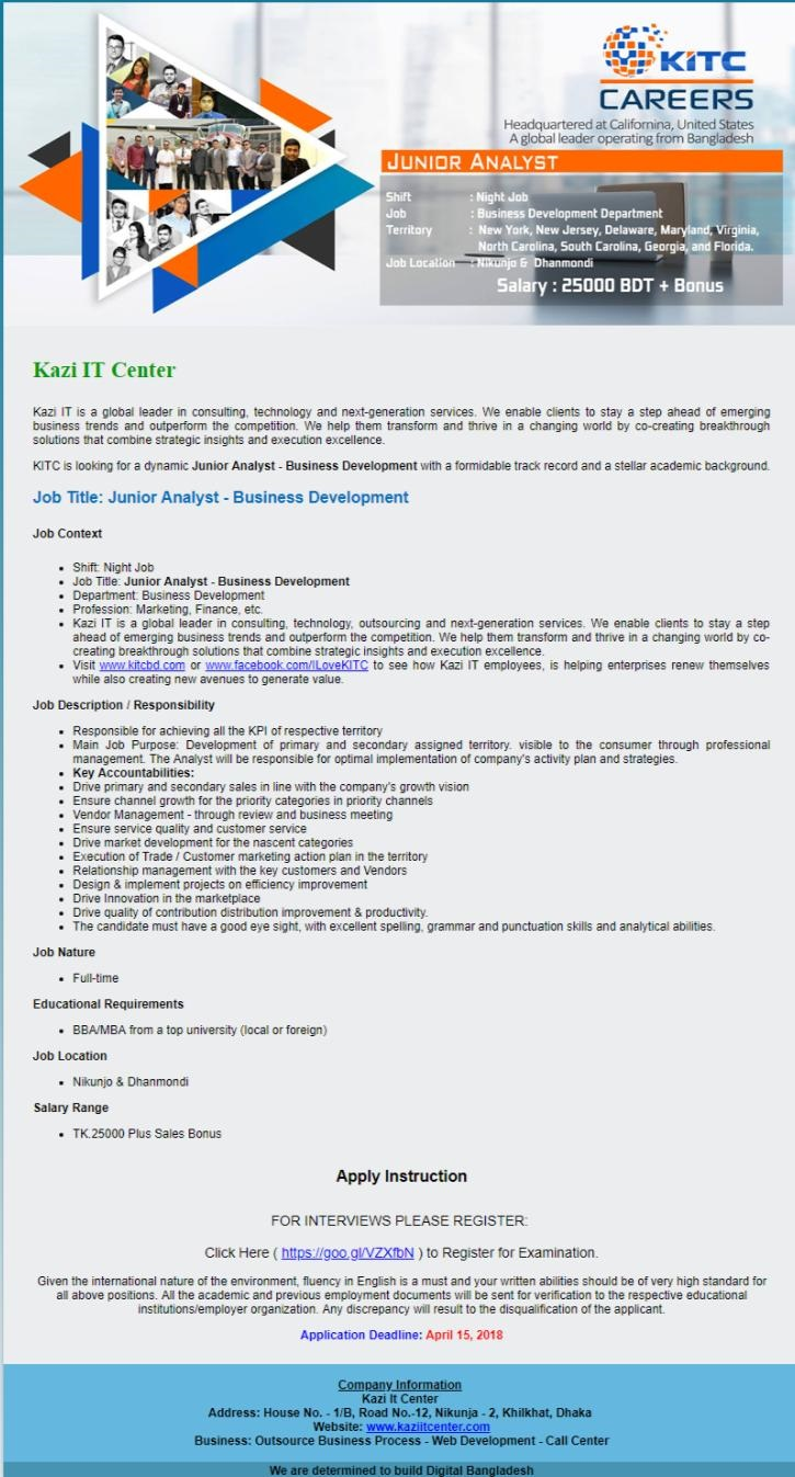 Kazi IT Center Job Circular