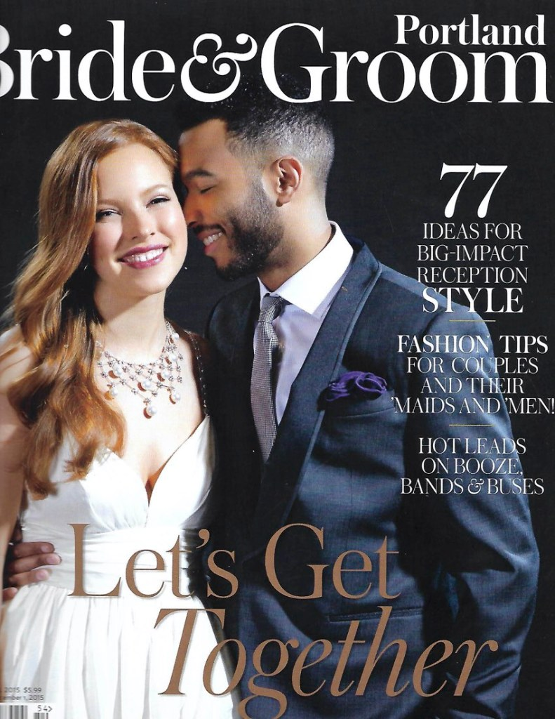 wedding couple on cover of a magazine