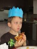 Enjoying his stuffed french toast