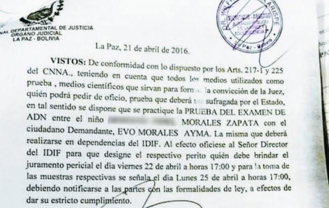 Jueza cita al presidente Morales y a su supuesto hijo para realizarse una prueba de ADN