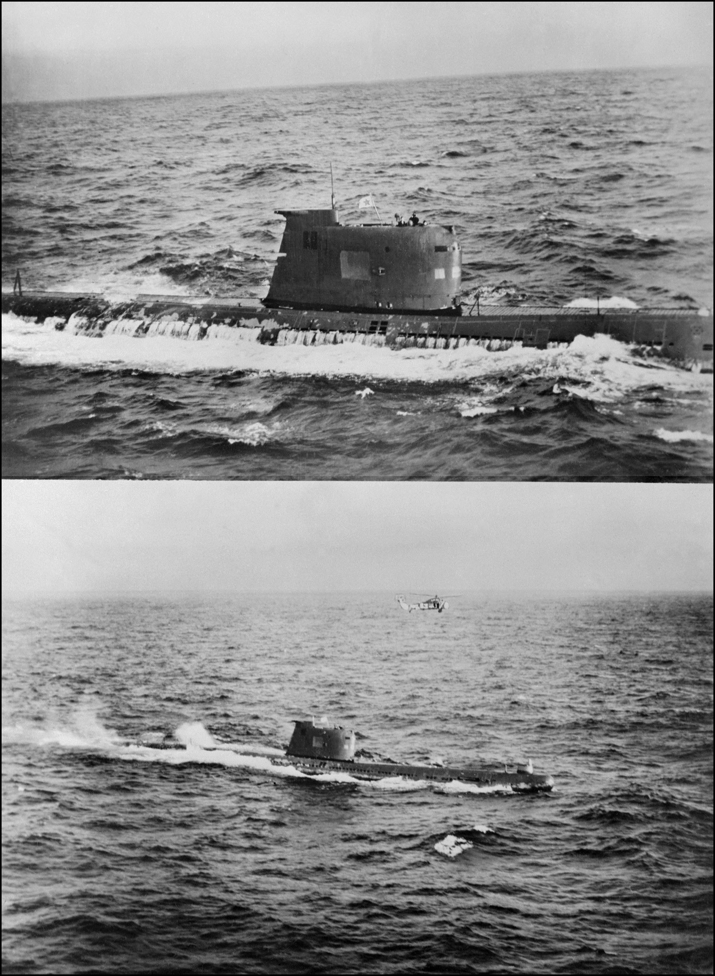 Un submarino soviético situado cerca de la costa controla la retirada de misiles soviéticos de Cuba, 10 de noviembre de 1962.