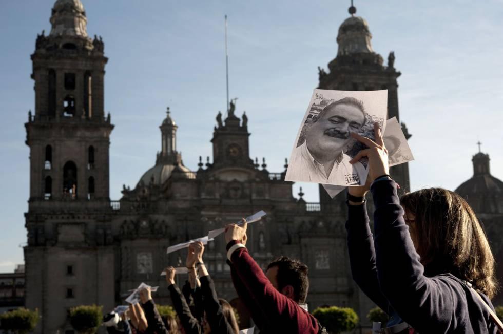 Periodistas protestan por el asesinato de Francisco Pacheco.