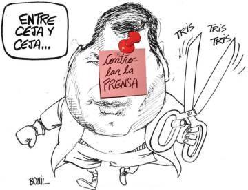 Caricatura de Bonil sobre Rafael Correa