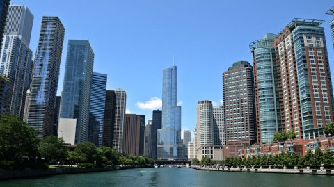 La imponente Trump International Hotel and Tower de Chicago.