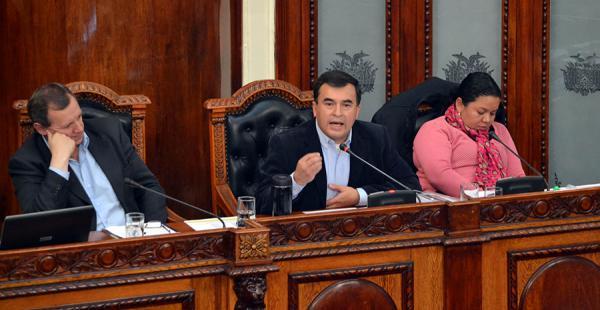 El ministro de la Presidencia, Juan Ramón Quintana, durante la interpelación en la Asamblea Legislativa Plurinacional