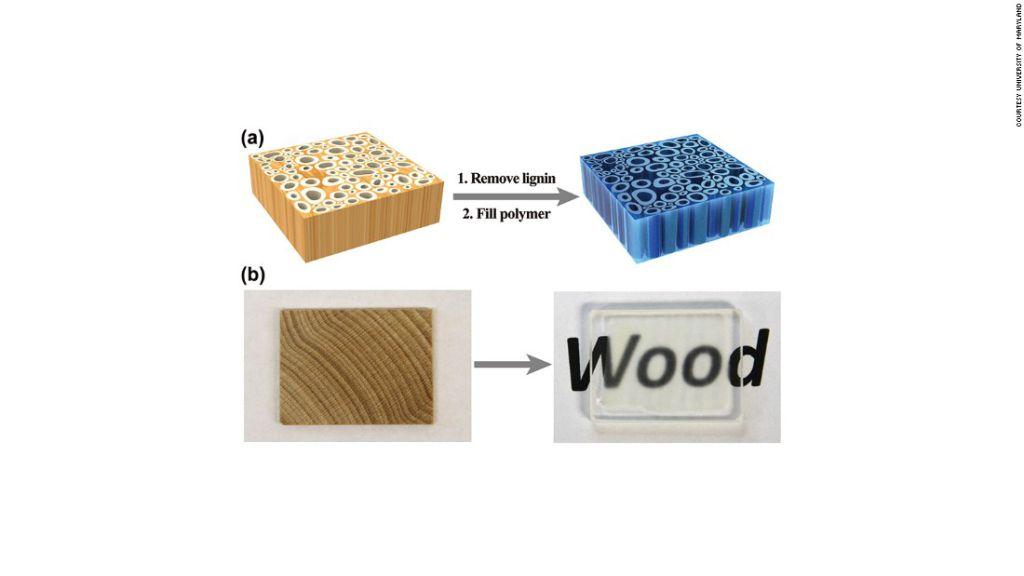 Después que se elimina el color, se pueden inyectar los polímeros o resinas epoxídicas para fortalecer la madera. El resultado es una madera más fuerte y transparente.