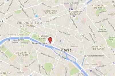 El museo del Louvre a pocos metros del Sena, en París./ Google Maps