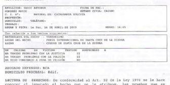 Acta de declaración de Mario Tadic Astorga
