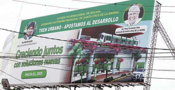 El proyecto del tren urbano en el municipio de Santa Cruz de la Sierra muestra juntos al presidente Evo Morales y al alcalde Percy Fernández. En esta época de campaña electoral esta imagen llama la atención de muchos ciudadanos.