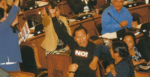 DEBATE. Los gritos por el Sí y el No se escucharon durante las cuatro horas de discusión. Oficialistas y opositores se acusaron de corrupción