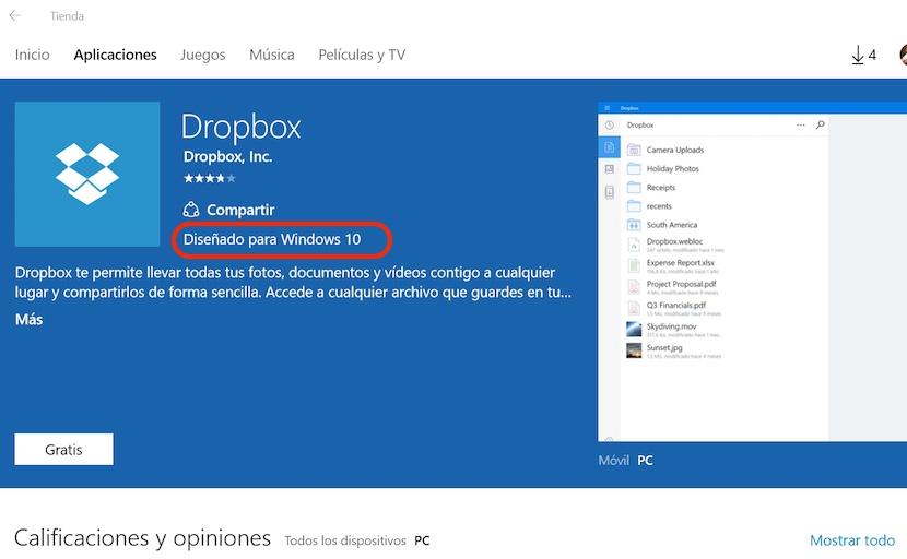 dise%C3%B1ado para windows 10 La tienda de apps de Microsoft informa si la aplicación está diseñada para Windows 10
