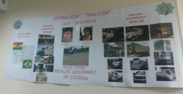 El operativo 'Halcón' se realizó durante dos semanas, se decomisó 700 kilos de droga y se arrestó a dos personas