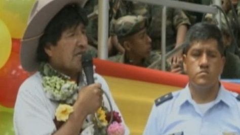El presidente Evo Morales en el acto de entrega de obras en Irupana