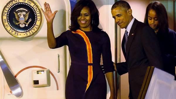 Obama y su mujer, al llegar esta madrugada a Buenos Aires (REUTERS)