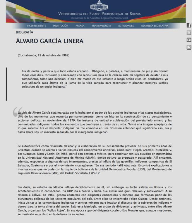 Página oficial de la Vicepresidencia de Bolivia