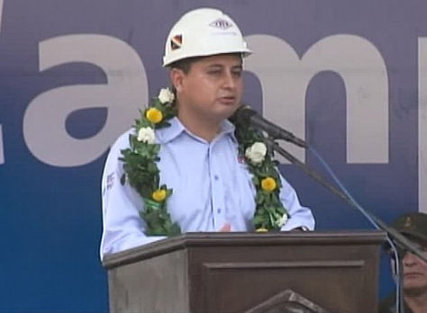 El presidente de YPFB en la inauguración de la producción de dos pozos gasíferos en Caigua. Foto: @Canal_BoliviaTV