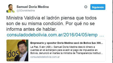 El empresario Samuel Doria Medina publicó ayer en su muro una alusión a la ministra Lenny Valdivia