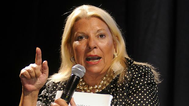 Elisa Carrió, durante la presentación de su libro
