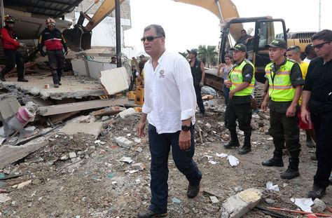 El presidente Rafael Correa visita el pueblo de Jama, en la provincia costera ecuatoriana de Manabí.