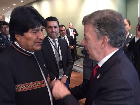 Evo Morales y José Manuel Santos