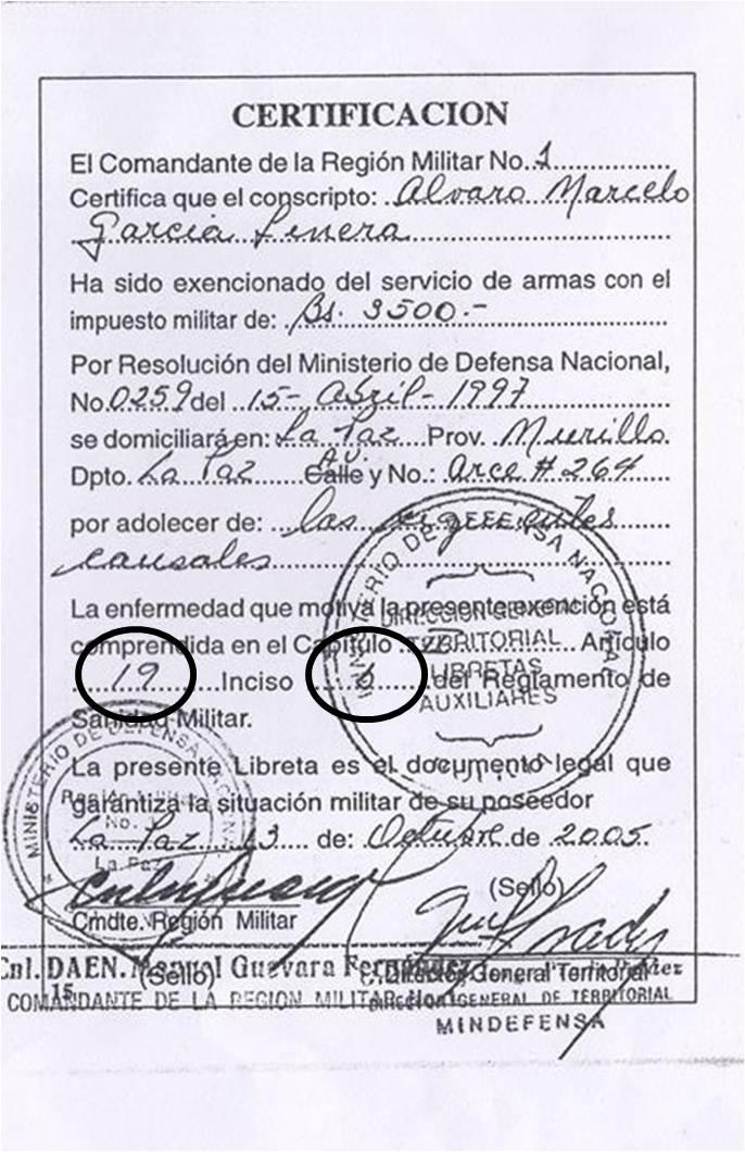 Libreta Militar AGL con inciso b