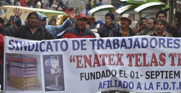 Hoy se prevén nuevas protestas en La Paz por los despidos de los trabajadores de Enatex.