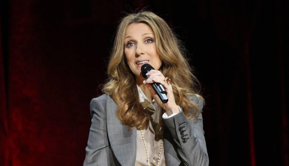 Celine Dion en una conferencia en Las Vegas.