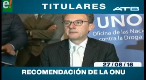 Titulares de TV: ONU recomienda al gobierno boliviano luchar contra grandes redes de narcotráfico