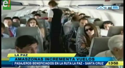 Amaszonas incrementa los vuelos entre La Paz y Santa Cruz