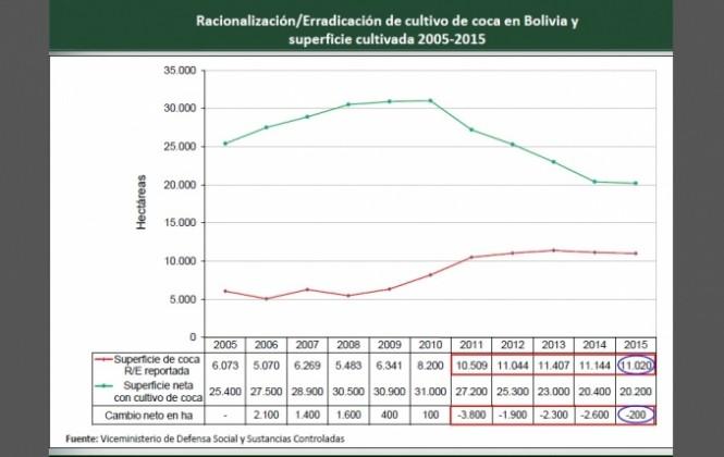 El 2015 es el año que menos coca se erradicó desde 2011