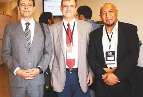 ANIMADOS CON EL ENCUENTRO. Mario Viscarra, Marcelo Viscarra y Yerko Aguilar estuvieron todo el día en el evento