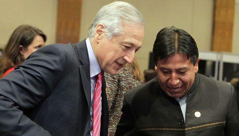 Los cancilleres Heraldo Muñoz (Chile) y David Choquehuanca (Bolivia)