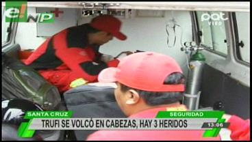 Vuelque de trufi en Cabezas deja 3 heridos
