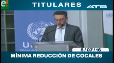 Titulares de TV: Informe de la Unodc. Bolivia registra una reducción mínima de la hoja de coca