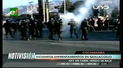 Video de los enfrentamientos entre fabriles y policías en Cochabamba