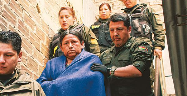 rumbo a las celdas la exministra será trasladada a palmasola la próxima semana La dirigente indígena aseguró que las organizaciones presionaban para los desembolsos
