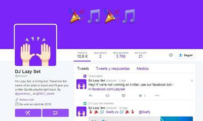 El Twitter del bot DJ Lazy Set que te arma listas de Spotify es @lazyset