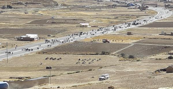 Otra de las imágenes de el bloqueo en la ruta a Oruro.