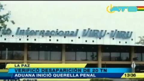 Aduana verificó desaparición de 20 toneladas de mercadería en Viru Viru