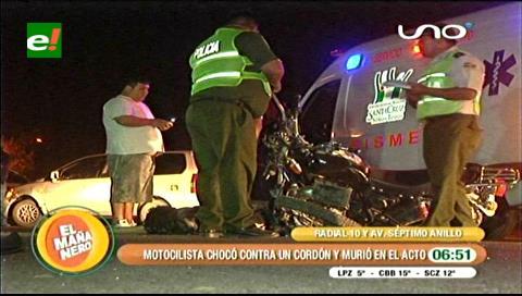 Motociclista muere tras chocar con cordón de una acera en la Radial 10