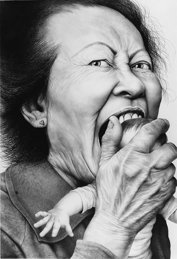 Laurie Lipton, dibujo a lápiz, 'Love Bite 2002' ('La mordedura del amor 2002'), carboncillo y lápiz, 137.4x96.5cm / 54