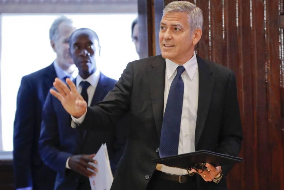 Clooney, a su llegada al Club de Prensa en Washington.