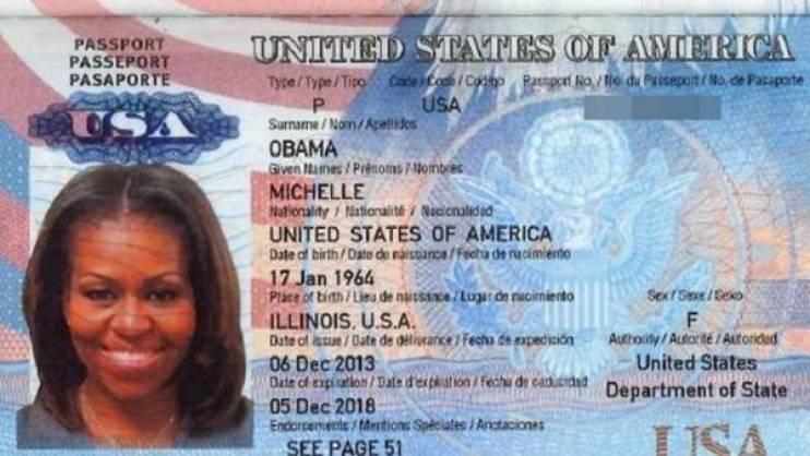 El supuesto pasaporte de Michelle Obama, filtrado por hackers en Internet./ Twitter