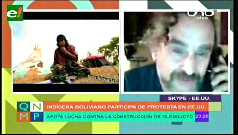 Indígena boliviano participa de protesta en EEUU
